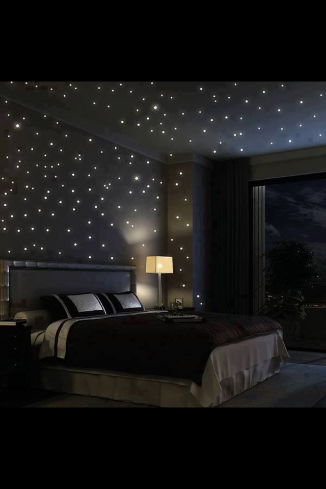 Starry night sky bedroom lighting - WOW how amazing to do one wall like this or the HALLWAY