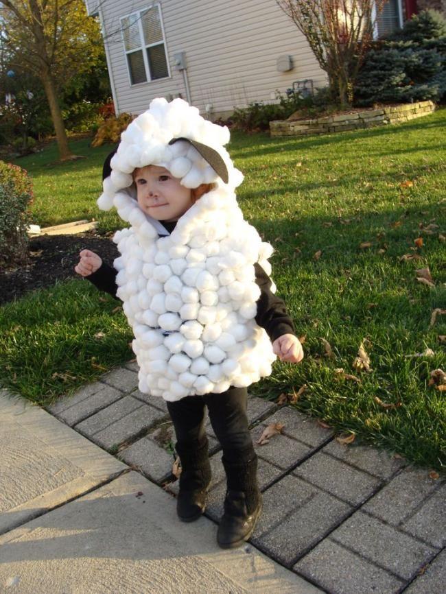 Cute homemade sheep costume for kids.