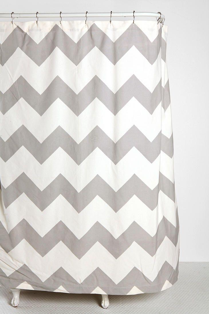 Aqua Chevron Shower Curtain - Zigzag shower curtain chevron