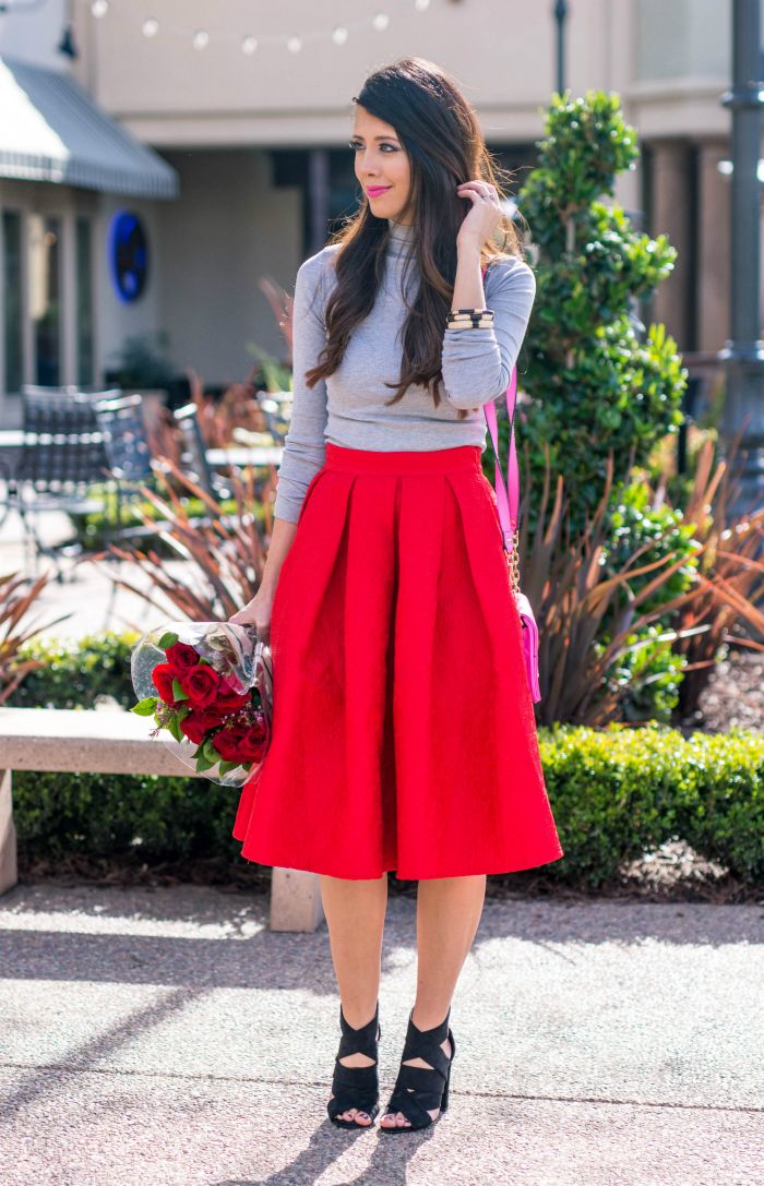 Red Midi Skirt + Grey Top