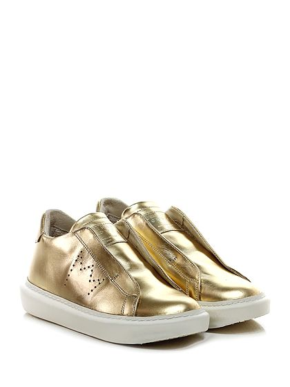 Leather Crown - Sneakers - Donna - Sneaker in pelle laminata con fasce elastiche interne e suola in gomma. Tacco 35, platform 25 con battuta 10. - ORO - € 268.00