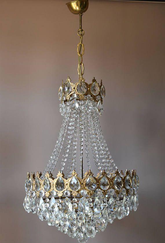 Large Vintage Crystal Chandelier 1950 S Crystal Light Antique
