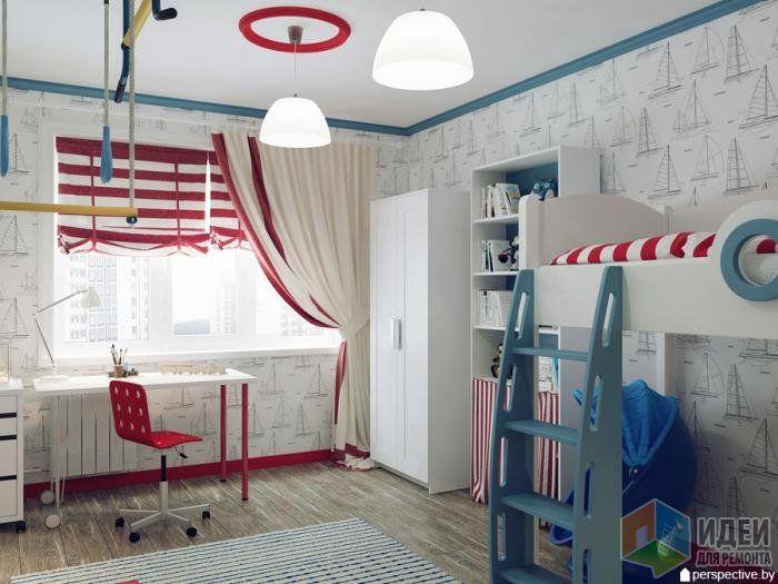 Детская комната дизайн, двухуровневая кровать в детской, оформление детской комнаты