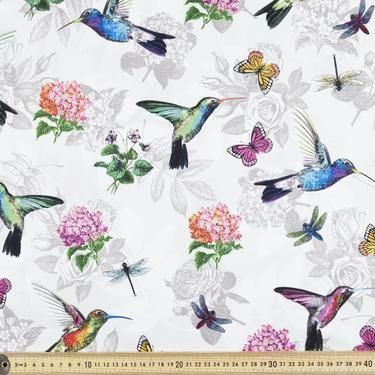 Hummingbird Paradise Fabric Grey 112 cm