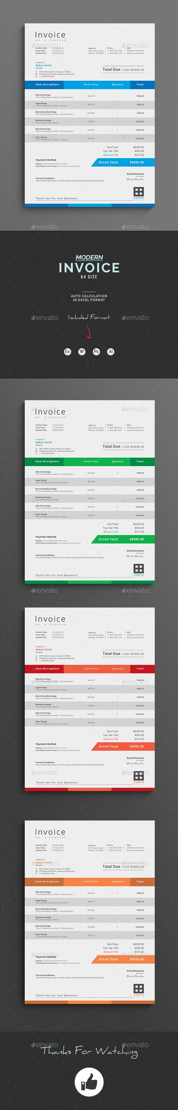 Invoice Clean Invoice Word Template with super modern and Corporate look. This invoice template has MS Excel Version with automatic calculation.  Corporate Invoice page designs are very easy to use and customize, so you can quickly tailor-make your letterhead for any opportunity. Use this letterhead template for company or corporate use.