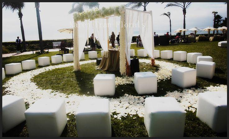 small wedding ceremony circular seating. Perfect for Skye's outdoor wedding ideas