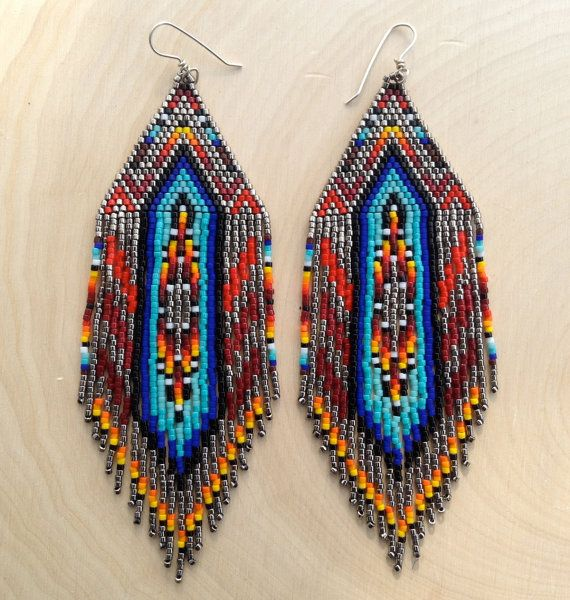 Large Silver with Native Design Earrings by wildmintjewelry, $145.00