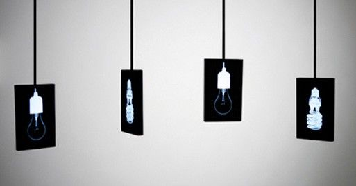 Korean Designer Wonsuk Cho has designed a series of lights based on the light box commonly used to examine X-Ray film. These whimsical lights are created by taking X-rays of single incandescent and compact fluorescent bulbs.