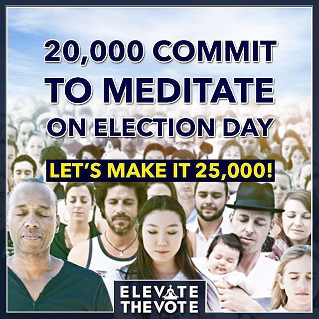 """Elevate the Vote! Elevate the collective consciousness!  Join a global flash mob meditation for Election Day November 8th! Find a flash mob near you at elevatethevote.com & join a group tomorrow @3pm PST, 6pm EST Let's raise the vibration of this planet by expanding our collective consciousness to a cosmic consciousness!  RepostBy @iunify: """"Tomorrow! Synchronized Meditation 6pm EST, 3pm PST"""