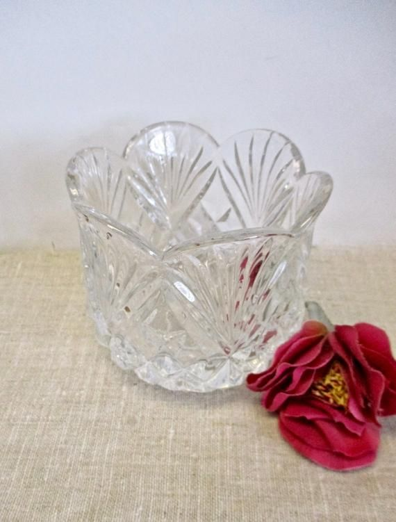 Genuine Cut Glass Bowl Crystal Candle Holder Clear Candy Dish Vintage 40s Mid Century 4 1/2″ High We