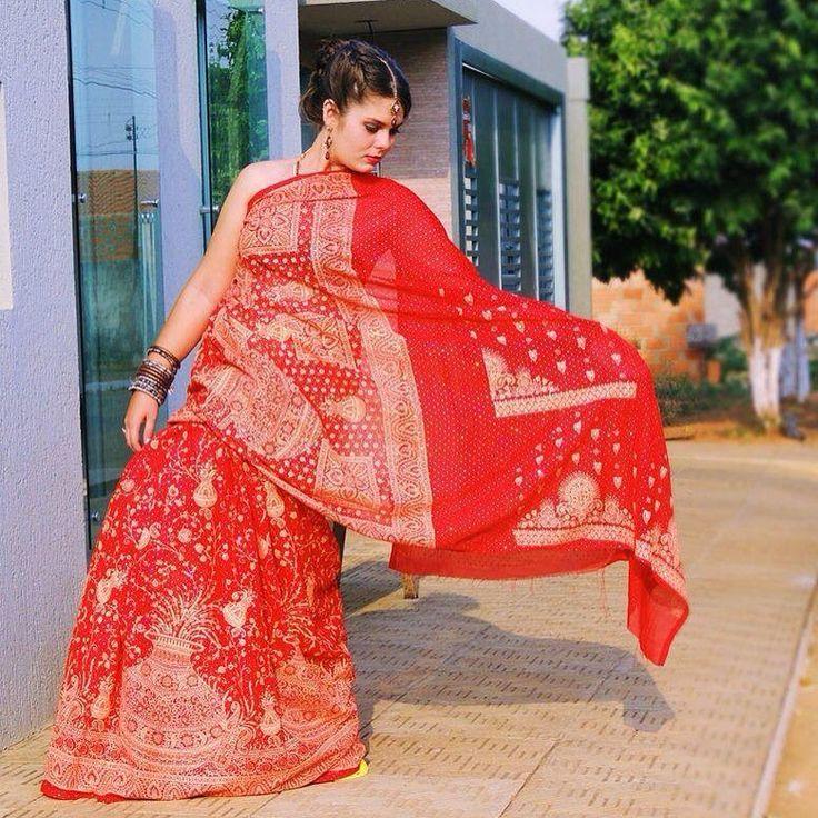 Sari vermelho indiano! amo sares! Sare Indiano GLOBAL INDIA PRODUTOS INDIANOS! Disponíveis para vendas online! #globalindia