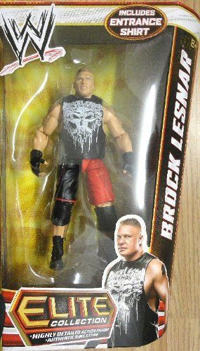 "WWE Elite Series 19 Brock Lesnar Action Figure by Mattel. $24.99. From the Manufacturer                World Wrestling Entertainment Figure Series #19: Bring home the action of the WWE. Kids can recreate their favorite matches with these 7"" figures created in Superstar scale. Figure offers extreme articulation, amazing accuracy and authentic details like arm bands and tattoos. This WWE Collection line consists of 72 different figures each year, with a series of 6 released..."