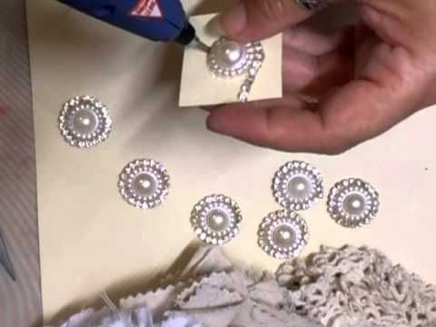 ▶ Shabby Chic Bling Center Tutorial - jennings644 - YouTube; can use for center of flowers; only uses flatback pearl and rhinestone chain trim.