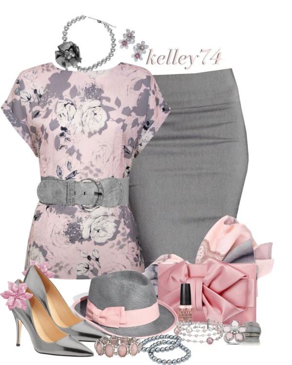 """I don't usually go with anything pink but this actually caught my eye.   """"Pink & Grey"""" by kelley74 on Polyvore"""
