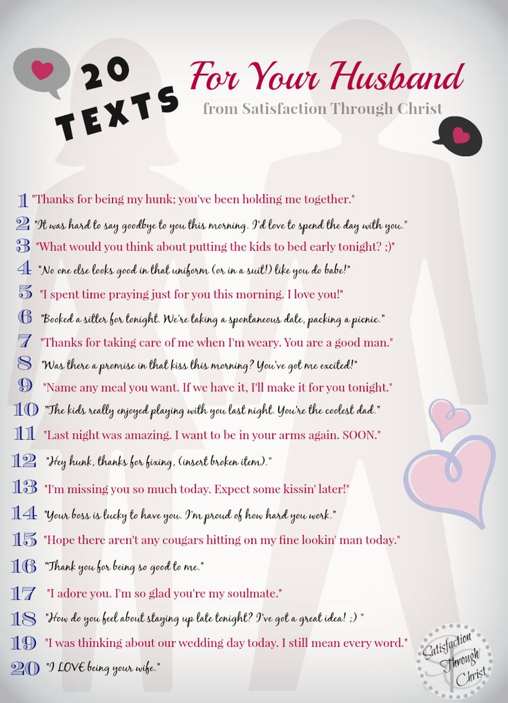 20 text message ideas you can send to your husband to tease, flirt, thank, adore, praise or encourage him. love on your spouse with your android! from Satisfaction Through Christ blog