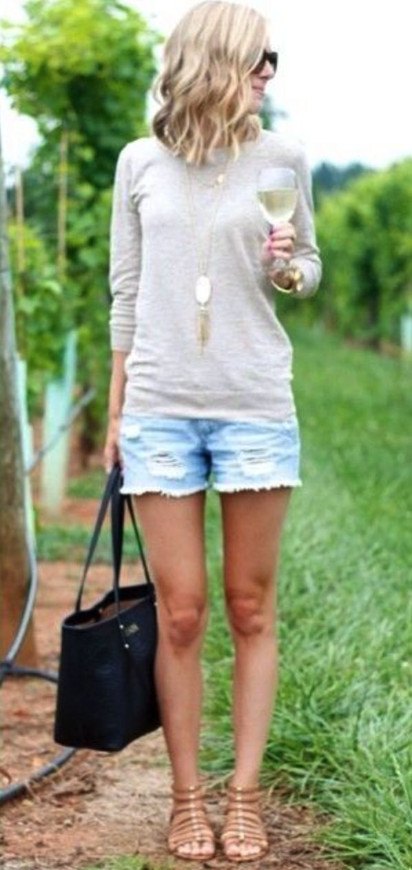 **** Stitch Fix Summer 2017 Inspiration! Distressed frayed denim is all the rage this Spring Summer - Stitch Fix has the best picks of all the great trends. Love this laid back, relaxed summer look of distressed denim shorts, cotton top and sandals. So chic!! Simply click the picture to get started! #sponsored #StitchFix