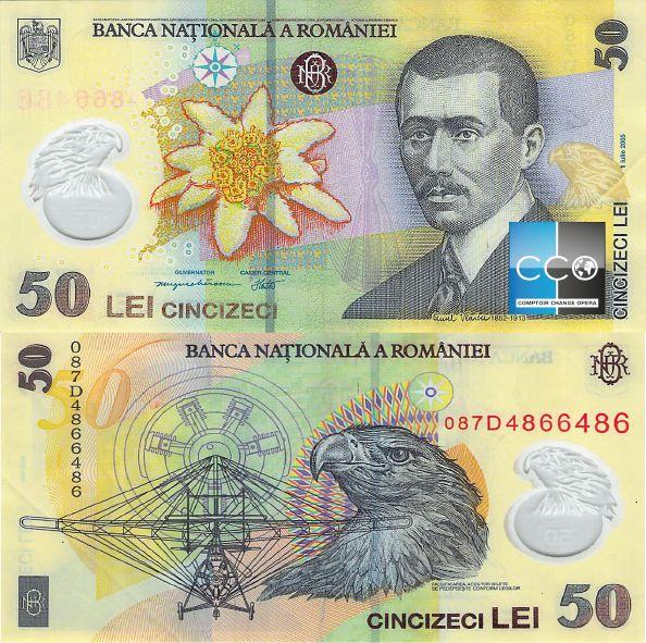 Le billet de banque de 50 Leu se représente le portrait de l'ingénieur Aurel Vlaicu.