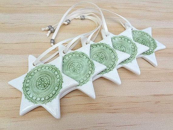 Green ceramic Christmas decorations. by SpringwoodPorcelain