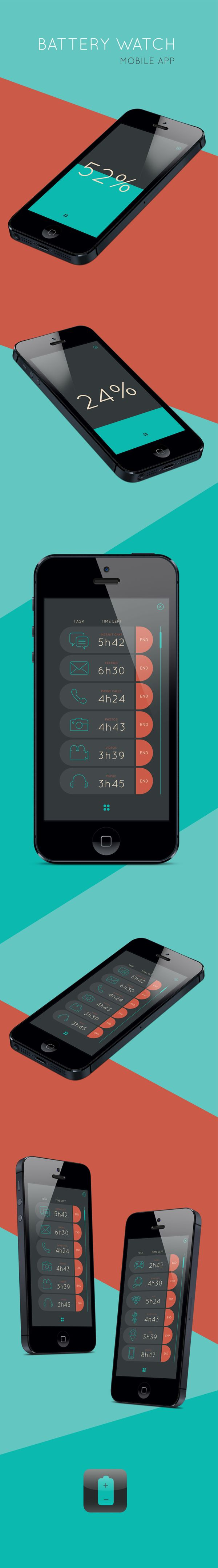 Concept mobile app - Battery Watch by Jacqui Proenca, via Behance