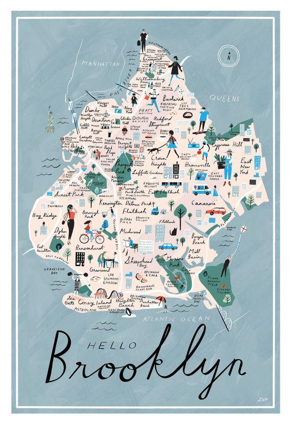 Hello Brooklyn Map, Full-Color Print, 12″ x 18″