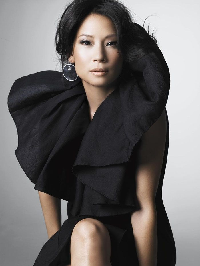 (Lucy Liu PhotoshootbySatoshi Saikusa, 2008). LOVE this black dress with the large, fluffy collar. OBSESSED!