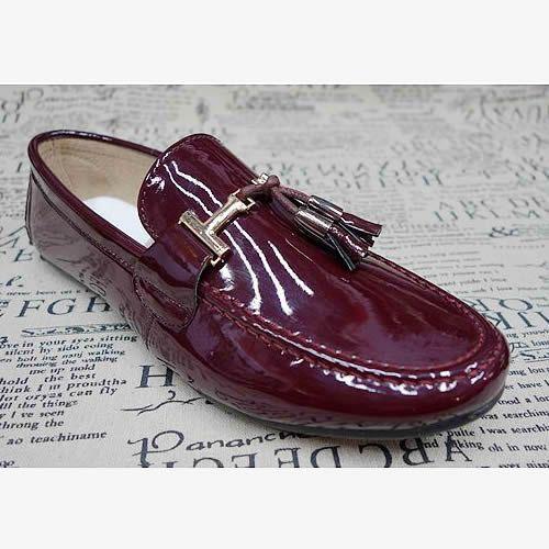 Mens Burgundy Patent Leather Wedding Prom Dress Moccasins Shoes Sale SKU-1100500