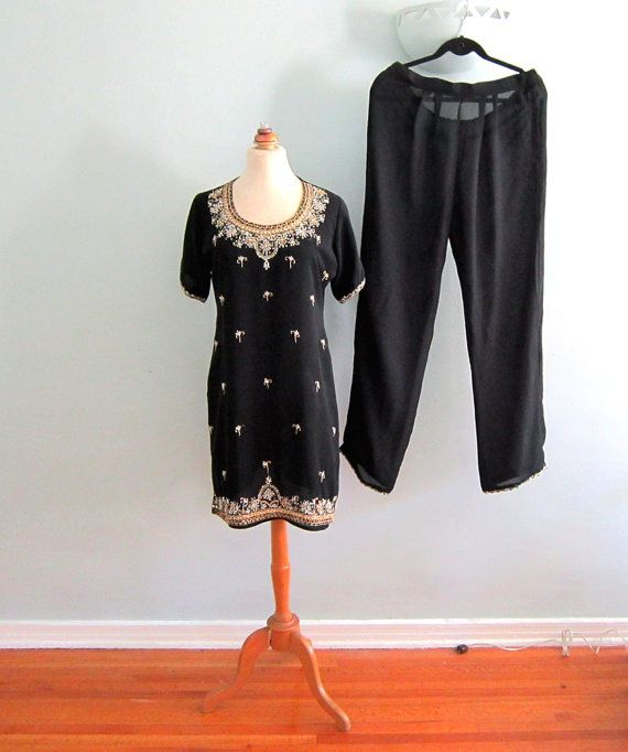 Black Sequin Dress , Black Indian Kameez, Black Beaded Tunic, Black Pant Suit, Bollywood Kameez