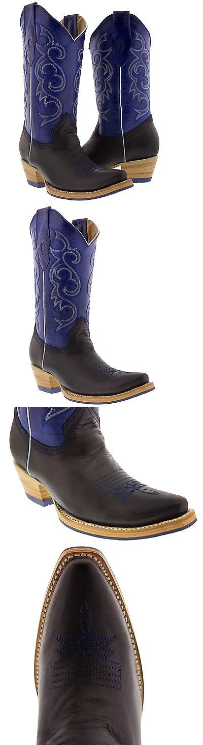 Boots 53557: Women S Black Blue Western Leather Cowboy Boots Rodeo Cowgirl Ladies Riding New -> BUY IT NOW ONLY: $139.99 on eBay!