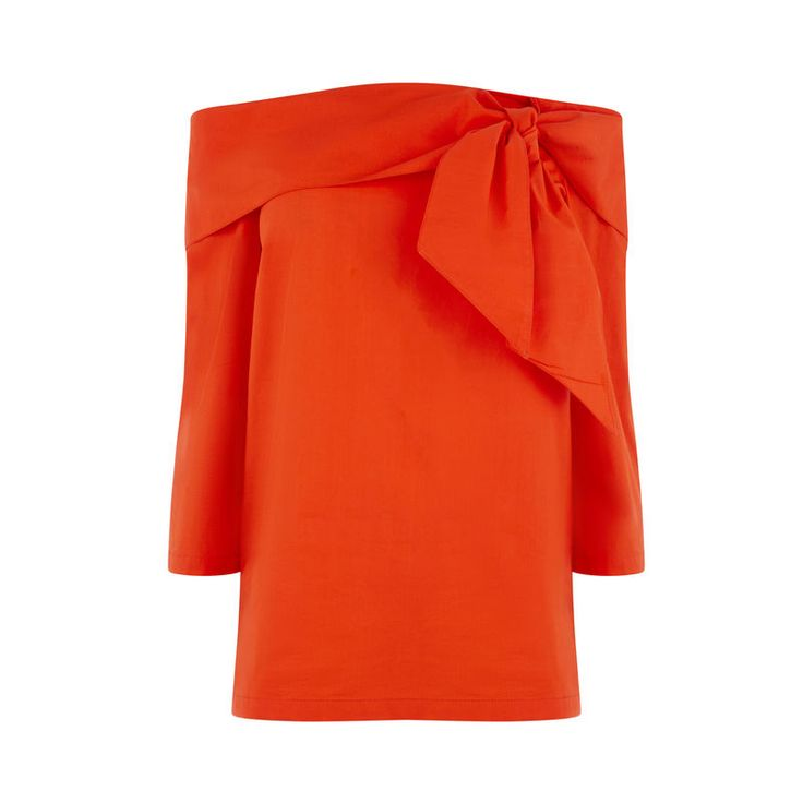 Warehouse tie front orange bardot top