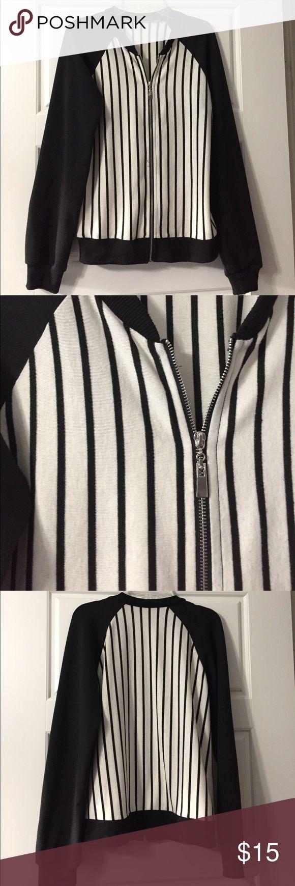Black and white baseball jacket L Black and white baseball jacket L Jackets & Coats