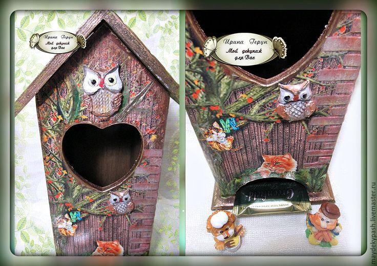 """Купить Чайный домик """"Коты и совы"""" - коричневый, чайный домик, домик для чая"""
