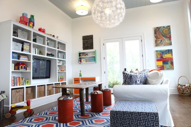 Birds of a Feather... cute playroom / tv area for your kids :): Playrooms Tv Rooms, Kids Lounges, Kids Tv Playrooms, Kids Games Playrooms, Playrooms Lounges, Ikea Chandelier, Playrooms Offices, Kids Playrooms Tvroom