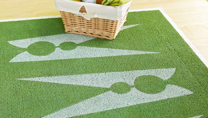 stenciled laundry room rug brought to you by lowes