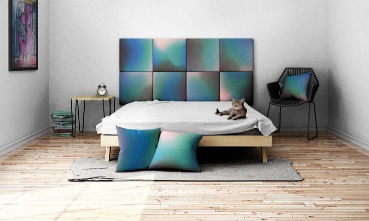 Headboard - upholstered modular wall panels OMBRE No. 2002 Rose Quartz - Turquoise - Deep Blue by DesignPolski on Etsy