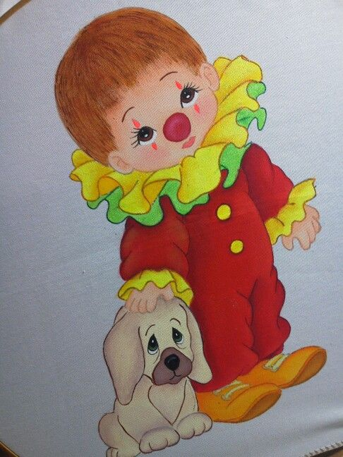 Payasito pintura en tela pintura pinterest sons - Cojines pintados en tela ...