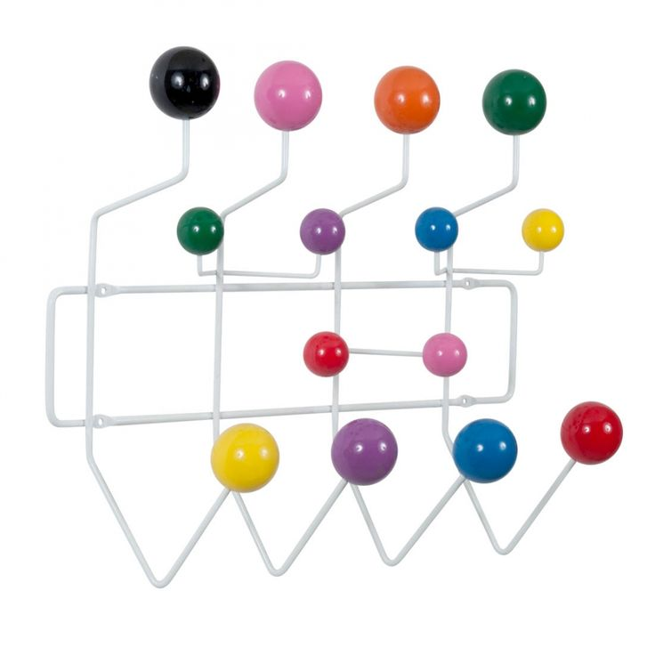 Eames Inspired Hang It All - White with Multi-Coloured Balls