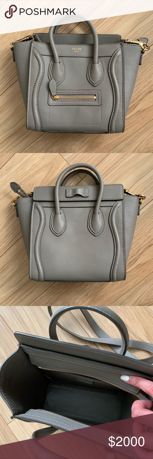 Celine nano grey smooth Authentic Celine Smooth leather Smallest size Euc No trades Celine Bags