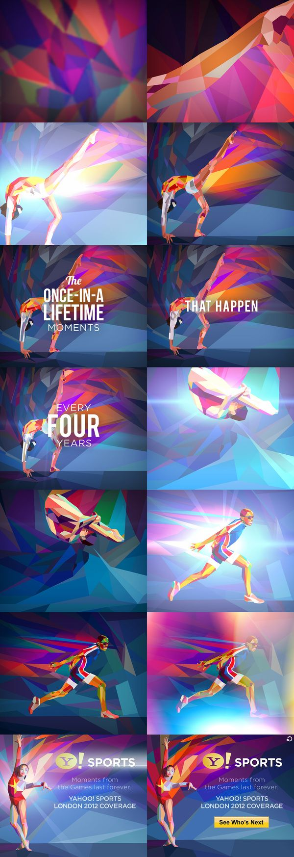 Yahoo! 2012 Games Coverage by Charis Tsevis, via Behance    love the color and geometric take on the Olympics