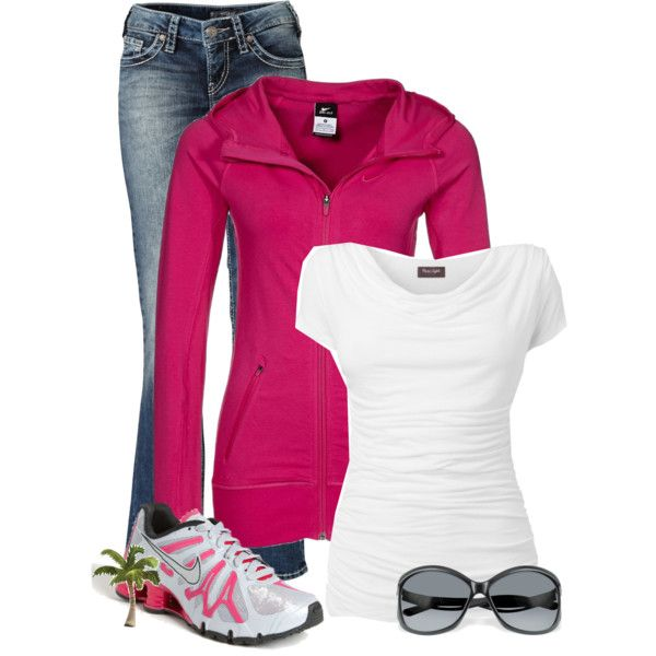 A fashion look from December 2012 featuring Phase Eight tops, NIKE activewear and Silver Jeans Co. jeans. Browse and shop related looks.