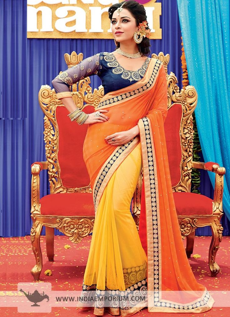 Yellow & Orange Chiffon Net #Saree  #TanuWedsManuReturns