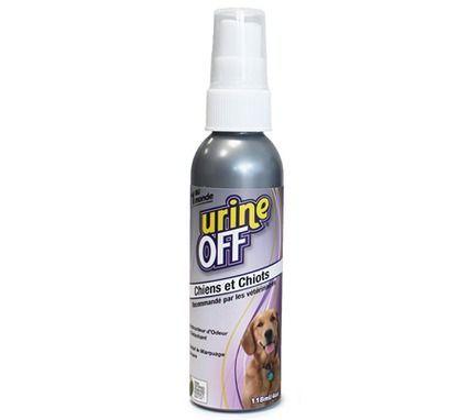 """Le spray pour chien """"Urine Off"""" (6.95e) conçu pour supprimer totalement les composantes d'urine. détruit les odeurs et les taches, tout en empêchant la répétition du marquage urinaire. Efficace sur toutes les surfaces, le spray Urine Off ne masque pas seulement l'odeur, son action rend les zones traitées parfaitement saines.   Produit sans danger pour les humains et les animaux."""