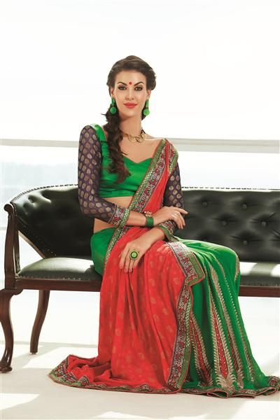 """Life and fashion are like two sides of a single coin - it is the journey – so enjoy each and every step of your journey by wearing this bridal and designer Saree on your valuable and important occasion. Having casual design on palav. Saree having fabulous and heavy embroidery design on the part of """"Palav"""". Having contrast color blouse material with the same embroidery border work to adds stunning look to the beauty. *Blouse included (Unstiched)."""