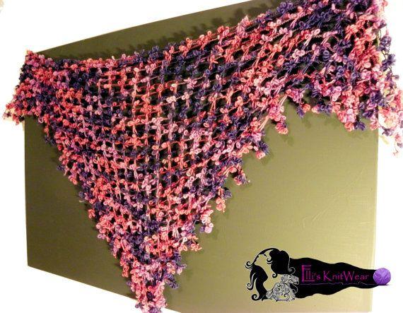 Knitted Stole With Little Flowers by EllisKnitwearShop on Etsy