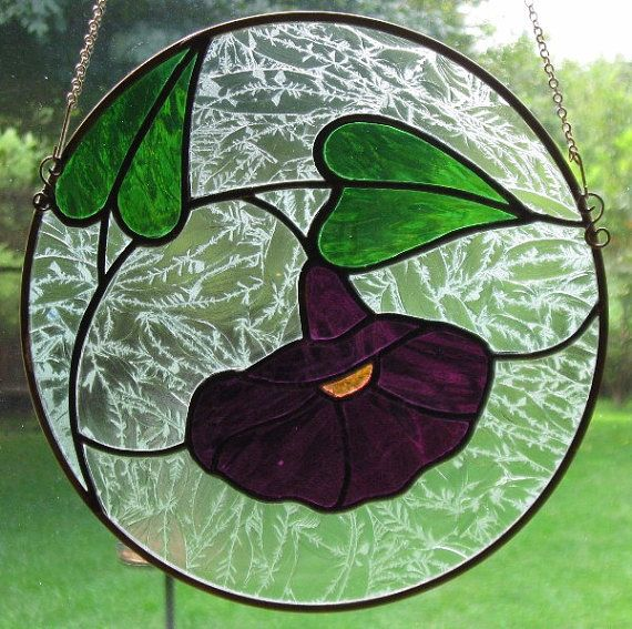 Morning Glory Round Stained Glass Panel, burgundy design, window, suncatcher gift, sun catcher