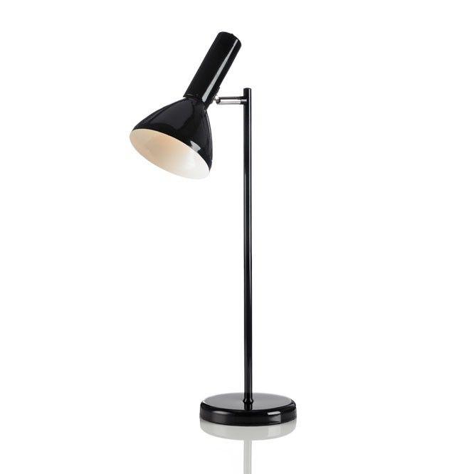 Vermont zwart - Bureau- of tafellamp in de sfeer van Deens 'sixties' design. Strak model in glanzend, fris wit metaal. Luxe uitgevoerd met wit textielsnoer. Aan-uitknop bovenop de lamp. Kap kantelbaar en draaibaar. Geschikt voor lichtbronnen tot 40W (niet meegeleverd).  Hoogte: 72 cm.