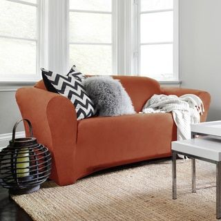 shop for quickcover harlow stretch suede 1piece loveseat slipcover get free delivery at
