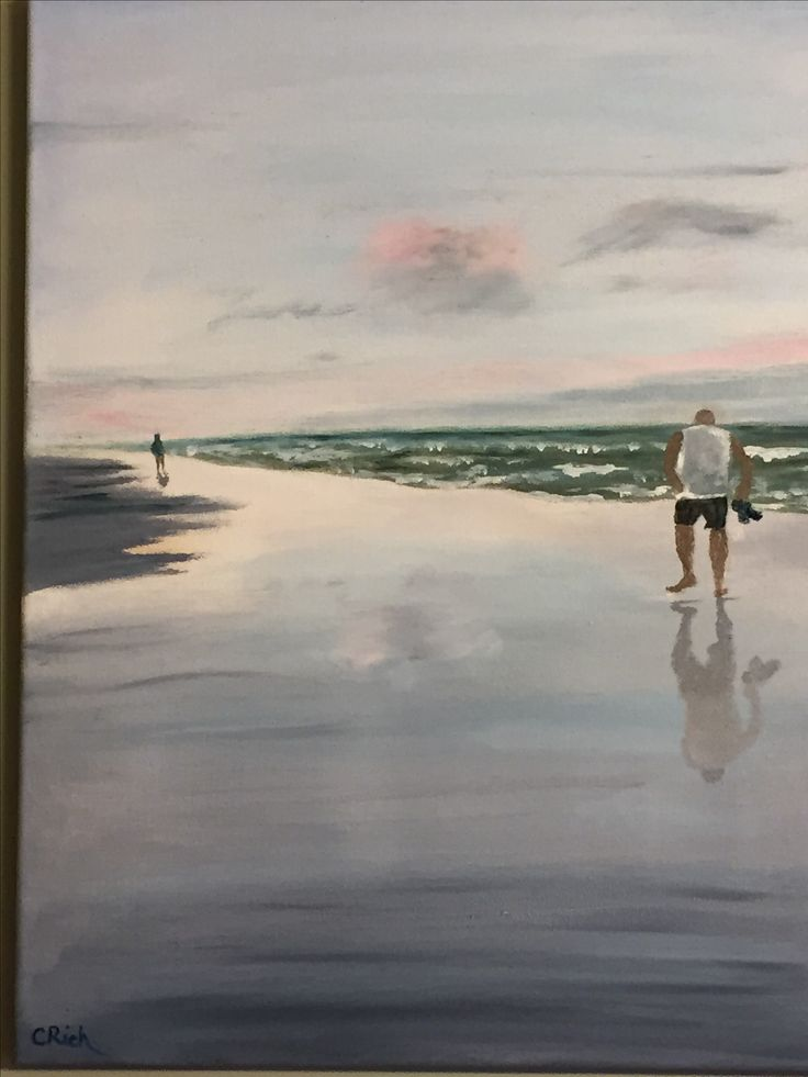 Old Orchard Beach-Oil on canvas by Carol Rich