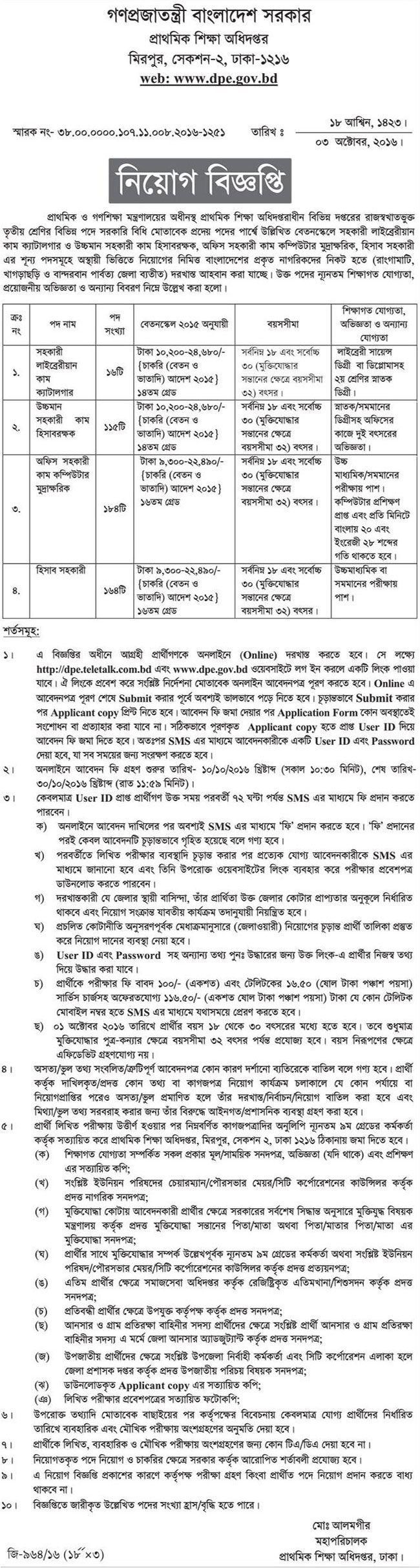 488 Vacancy  Directorate of Primary Education Job Circular