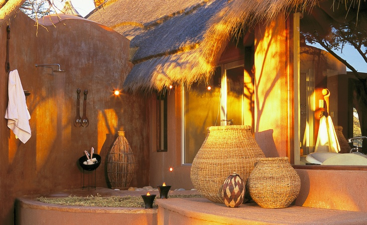 Bush Suite's spectacular outside bush shower, Okonjima, Namibia.