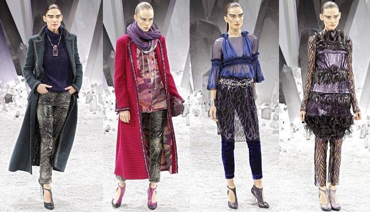 Chanel: A partir de la esencia del diseño de Chanel, Karl Lagerfield se reinventa de nuevo la marca con diseños futuristas y elegantes. Los tejidos clásicos de siempre en prendas superpuestas